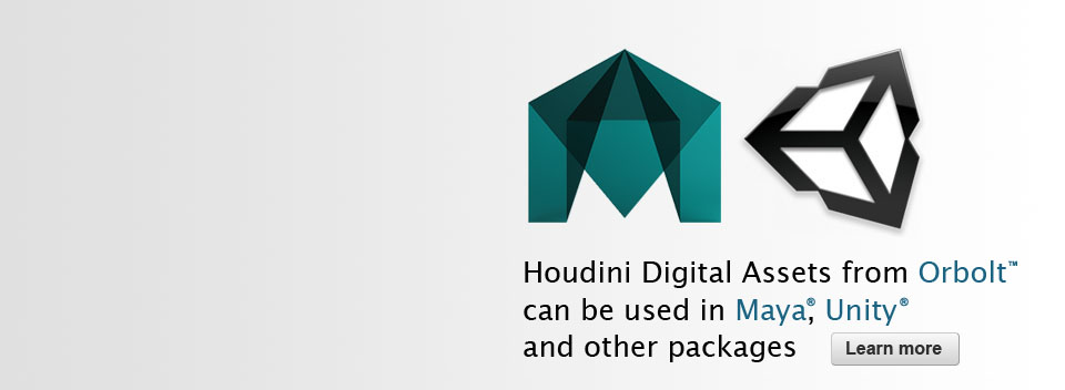 Houdini Digital Assets from Orbolt can be used in Maya, Unity and other packages